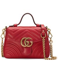 Gucci - Marmont 2.0 Leather Top Handle Bag - Lyst