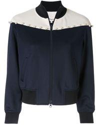 3.1 Phillip Lim Pearl-embellished panelled bomber jacket - Bleu