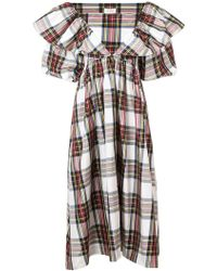 Isa Arfen - Checked Puffy Sleeves Dres - Lyst