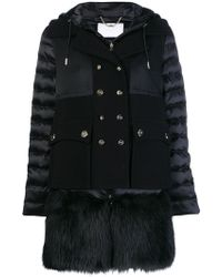 Elisabetta Franchi - Faux Fur Trimmed Coat - Lyst
