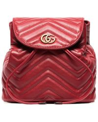164d08f46174 Gucci - Red Marmont Quilted Leather Backpack - Lyst
