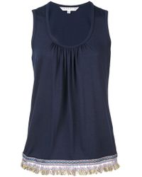 Trina Turk - Frayed Trim Draped Tank Top - Lyst