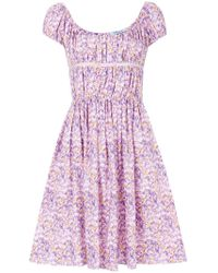 Blumarine - Square Neck Floral Dress - Lyst