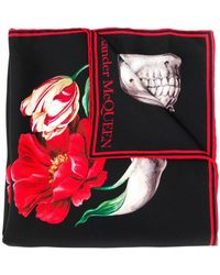 Alexander McQueen - Skull And Flower Scarf - Lyst