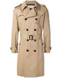 7843046191475 Saint Laurent - Belted Trench Coat - Lyst