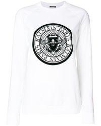 Balmain - Logo Crest Print Sweatshirt - Lyst
