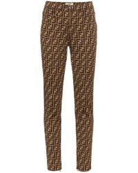 Fendi - Ff Logo Print Trousers - Lyst