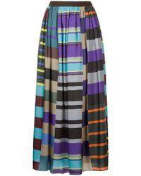 Kolor - Striped Full Skirt - Lyst