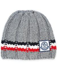 Moncler Gamme Bleu - Logo Striped Beanie Hat - Lyst