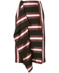 Cedric Charlier - Striped Midi Skirt - Lyst