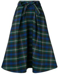 MSGM - Check Flared Skirt - Lyst