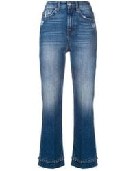 7 For All Mankind - Beaded Hem Cropped Jeans - Lyst