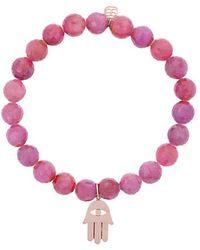 Sydney Evan - Light Ruby Beaded Bracelet With Hamsa Hand Charm - Lyst