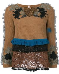 Antonio Marras - Embroidered And Frill Detailed Sweater - Lyst