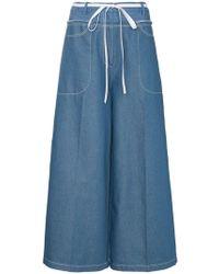 Rejina Pyo - High-waisted Tie Waist Denim Culottes - Lyst