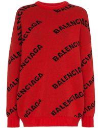 Balenciaga オールオーバー ロゴ セーター - レッド