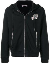 Moncler - Logo Zip-up Cotton Sweatshirt Hoodie - Lyst