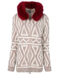 Eleventy - Fox Fur Hooded Textured Cardigan - Lyst