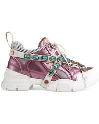 52c68d4f38d Gucci - Flashtrek Sneakers With Removable Crystals - Lyst