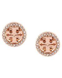 Tory Burch - Crystal Logo Circle-stud Earrings - Lyst