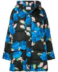 MSGM - Floral Print Puffer Jacket - Lyst