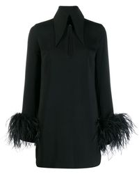 16Arlington Michelle Feather Trim Mini Dress - Black