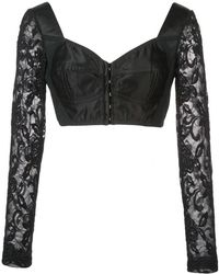 95e273109 Lyst - Dolce   Gabbana Floral-print Crepe Bustier Top in Black