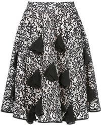 Mikio Sakabe - High-waisted Floral Embroidered Skirt - Lyst