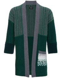 Curieux - Green Cashmere Intarsia Knit Kimono - Lyst