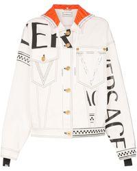 Versace - Jeans-Kapuzenjacke mit Logo-Print - Lyst