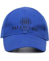 Balenciaga - Blue Logo Embroidered Cap - Lyst
