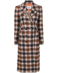 Dondup | Plaid Double Breasted Coat | Lyst