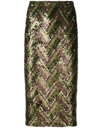P.A.R.O.S.H. - Zig Zag Printed Pencil Skirt - Lyst