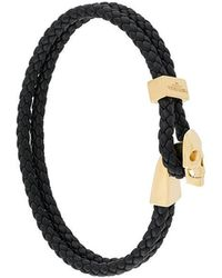 Northskull - Braided Leather Skull Bracelet - Lyst
