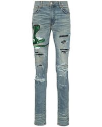 65286350b063 Amiri - Snake Patch Embroidered Skinny Jeans - Lyst