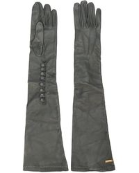 DSquared² Calf Leather Long Gloves - Gray