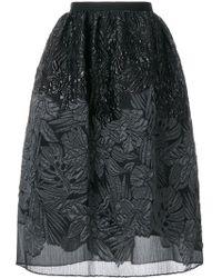 Talbot Runhof - Textured Floral Skirt - Lyst
