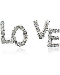 Rosa De La Cruz - White Gold And Diamond Love Studs - Lyst