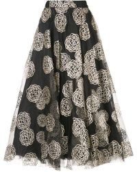 Co. - Patterned Flared Midi Skirt - Lyst
