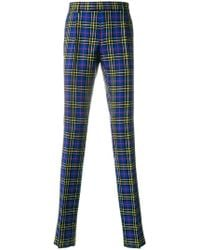 Burberry - Sapphire Blue Check Trousers - Lyst