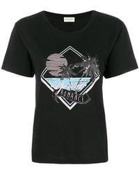 Saint Laurent - Palm Tree Print T-shirt - Lyst
