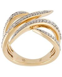 Eshvi - Diamond Encrusted 18kt Gold Ring - Lyst
