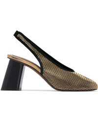 1ff588272ff Marni - Metallic Gold 80 Netted Leather Slingback Pumps - Lyst