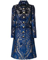 Dolce & Gabbana - Floral Jacquard Flared Coat - Lyst