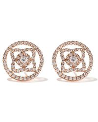 De Beers - 18kt Rose Gold Enchanted Lotus Openwork Diamond Stud Earrings - Lyst