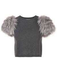 Lyst - Alice + Olivia Ciara Embellished Short-sleeve Crop Sweater in ... c4caa1f24