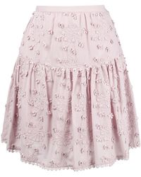 See By Chloé - Floral Embroidered Pleated Skirt - Lyst