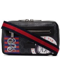 Gucci - Black Night Courrier Badge Embellished Crossbody Bag - Lyst