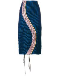 Marni - Striped Ruched Skirt - Lyst