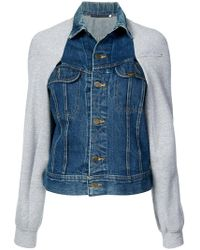 Harvey Faircloth - Sweatshirt Sleeve Denim Jacket - Lyst